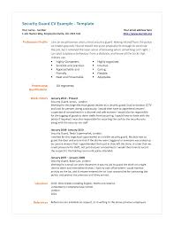 Resumes Free Simple And Professional Security Guard Cv Example