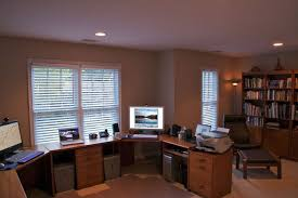 m appealing new home office design layout and concept ideas with walls painted of beige plus white roll up curtains on glass windows also varnished wooden appealing home office design