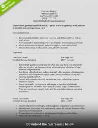Resumes Cna Resume Example Description Skills Listive Examples