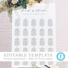 Etsy Wedding Seating Chart Alphabetical Alphabetical Seating Chart Template Modern Wedding Seating Poster Alphabetized Printable Seating Plan Editable Seating Sign Templett 06