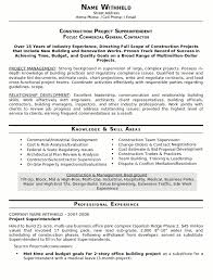 Resume Example Construction Subcontractor Cover Letter Resume