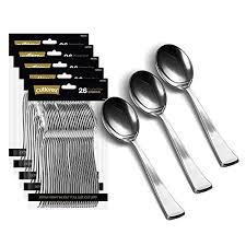 130 silver plastic spoons heavy duty plastic silverware spoons fancy plastic cutlery elegant