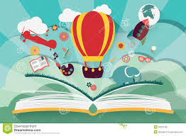 imagination concept open book with air balloon stock vector ilration of education