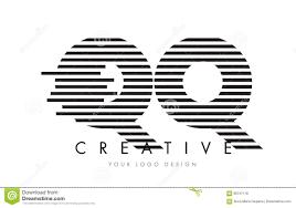 QQ Q Q Zebra Letter Logo Design with Black and White Stripes