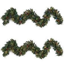 Garland With Lights Lowes Ge Indoor Outdoor Pre Lit 9 Ft L Branch Garland With Color