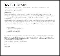Press Officer Cover Letter Sample Cover Letter Templates
