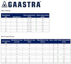 Gaastra Size Guide