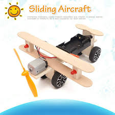Creative <b>DIY</b> Toys For Children Wooden <b>Electric Sliding Aircraft</b> ...