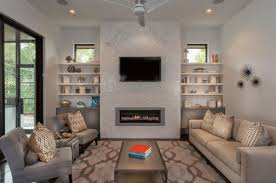 transitional gray living room with marble tile fireplace