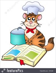 funny chef chef menu cartoon cat chef with recipe book color ilration