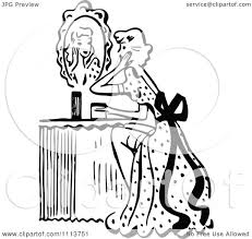 hand holding mirror drawing. Clipart Retro Black And White Woman Looking At A Mirror Her Vanity Table - Royalty Free Vector Illustration By Prawny Vintage Hand Holding Drawing