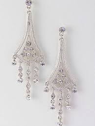 silvertone deco style crystal chandelier earrings