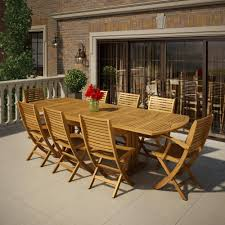 9 piece eucalyptus wood patio set