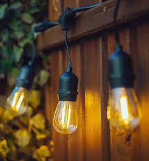 hyperikon led outdoor commercial string lights 48ft with 15 hanging sockets 2w led s14 led bulbs included weatherproof vintage edison string lights for