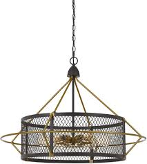 cal lighting fx 3696 6 caserta 6 light 33 inch antique brass and black