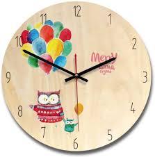 cartoon wooden carton wall clock slient