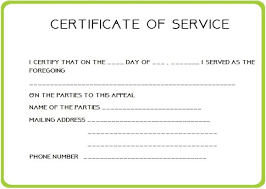 Sample Certificate Of Service Template Best Certificate Of Service Certificate Of