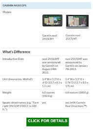Garmin Comparison Gps Chart Garmin Nuvi 2555lmt Vs 2557lmt Garmin Nuvi 2555lmt Gps