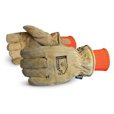 snowforce brown split leather thinsulate lined freezer glove