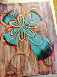 blue cross painting with whimsy red swirls