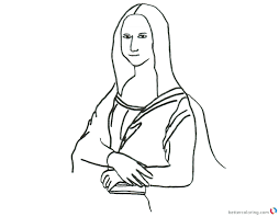 Mona Lisa By Leonardo Da Vince Coloring Page Free Printable