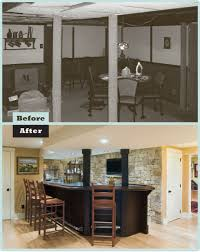 basement remodels before and after. Modren And Before U0026 After Wayne Basement Refinished With Custom Bar And Stone Wall On Remodels And After