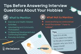 What Is Your Hobbies Job Interview Question What Are Your Hobbies