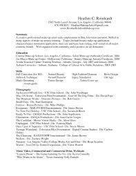 Artist Resume Format Toreto Co Entry Level Makeup Samplelates Free