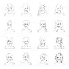 女性のヘアスタイルの種類は設計のためのセットのコレクションのアイコン