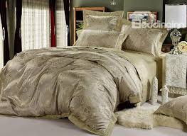 super shining grey jacquard 4 piece satin bedding sets with unique pattern 10490313