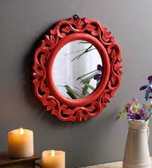 wooden round wall mirror in red colour