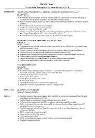 Records Specialist Sample Resume Records Specialist Resume Samples Velvet Jobs 1