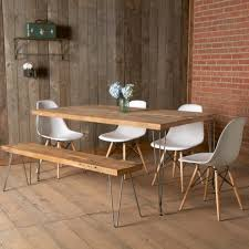 with the help of modern urban loft reclaimed wood dining table for kitchen or dining room with matching benches for people which is made of original wood