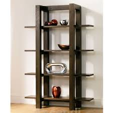 Antique Design of Wooden Shelving Unit in Dark Teak Finish Idea with Four  Wooden Shelves for