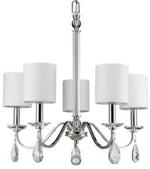 lily polished nickel crystal chandelier drum shades