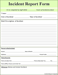 Accident Incident Reporting Form Template Elegant Report