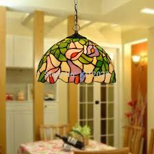 Tiffany Style Calla Lily Pendant Lamp For Dinning Room Stained Glass  Lampshade Vintage Hanging Lights Home ...