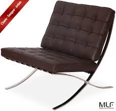 Mlf Barcelona Chair Dark Brown Aniline Leather High Density Foam