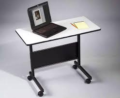 image of folding computer desk with wheels