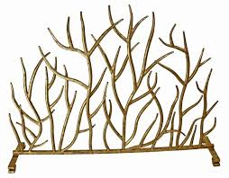 contemporary french ornate twig antique gold iron fireplace screen 38 5 x 30