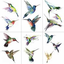 Hxman Akvarel Kolibřík Dočasné Falešné Tetování Nálepka Vodotěsné