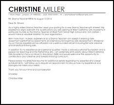 Teacher Cover Letter Sample Drama Teacher Cover Letter Sample Cover Letter Templates Examples