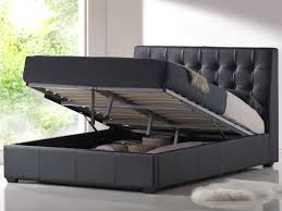 Contemporary Black Leather King Platform Bed With Storage Under