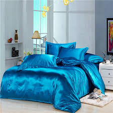 luxury blue silk satin bedding duvet cover comforter sets 4pc solid color king queen full twin ed flat sheet free