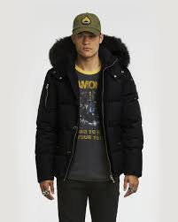 mens quilted puffa detachable fox fur hood black jacket