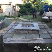 stone patio diy fire pit wood beam benches lehman lane