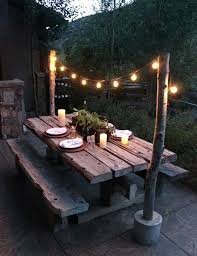 string light pole diy make string light poles with concrete stands for outdoor patio post make