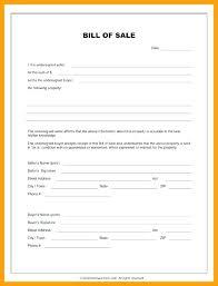 Bill Of Sale Trade Template