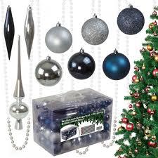 130tlg Weihnachtskugeln Christbaumkugeln Christbaumschmuck Silberstahlblau