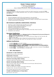 Sap Fico Fresher Resume Sample Resume For Study
